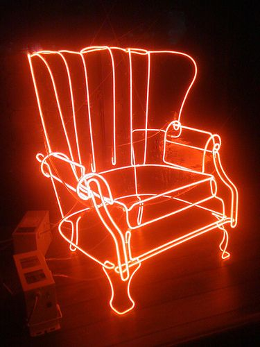Neon chair by artist David Otis Johnson at Madrone SF