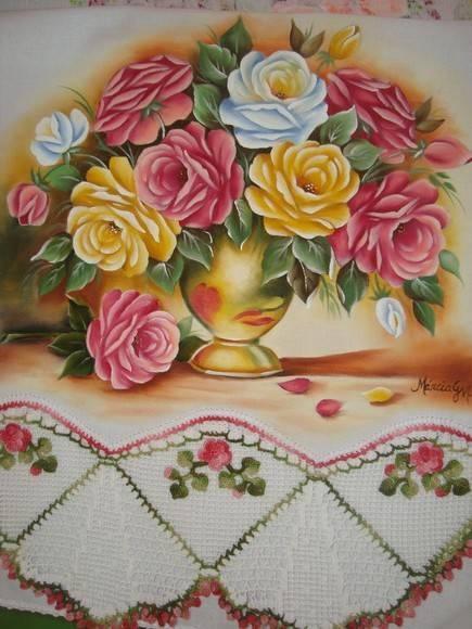Pano de copa em pintura em tecido e croc | Artes em Crochê e Pintura | 1A68D6 - Elo7