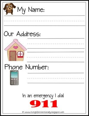 Printable... Teach Your Kids Their Name, Address And Phone Number. Also, 911. Good Practice Sheets.