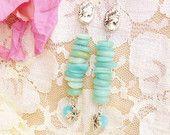 Beaded Earrings, Blue, Victorian, Beach Jewelry, Wedding Accessories