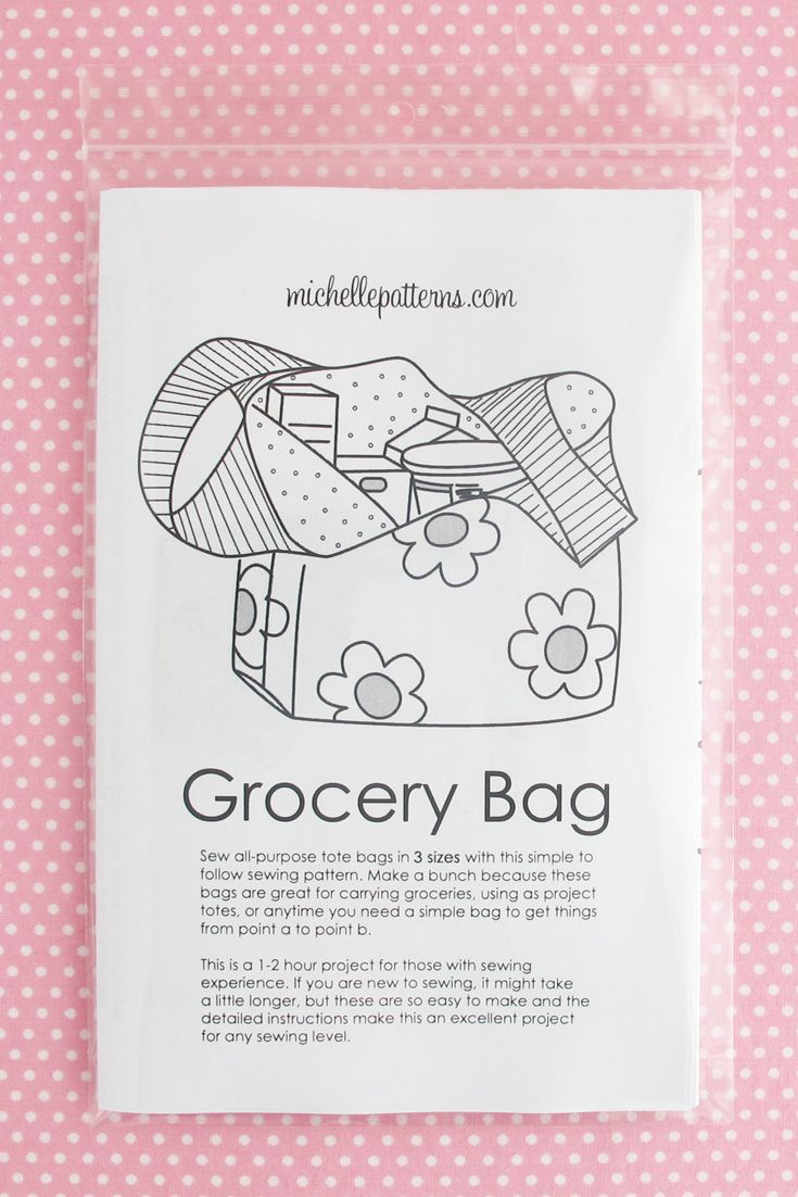 Wholesale Print Sewing Pattern - Grocery Bag | Grocery Bags | Sewing ...