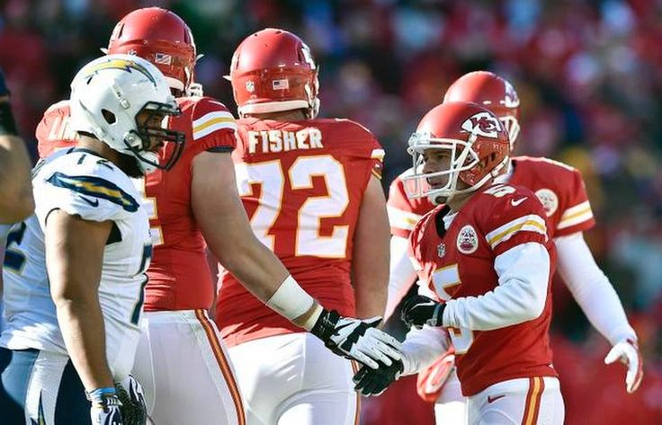 Kansas City Chiefs kicker Cairo Santos (5) is congratulated after completing a field goal in the second quarter during Sunday's football game against the San Diego Chargers on December 28, 2014 at Arrowhead Stadium in Kansas City, Mo.