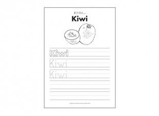 """Print this sheet and help your child write the word, """"Kiwi"""". A fun way to improve fine motor skills and handwriting!"""