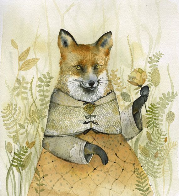 Fox Art  Lady Fiona  watercolor print  Illustrious Forest