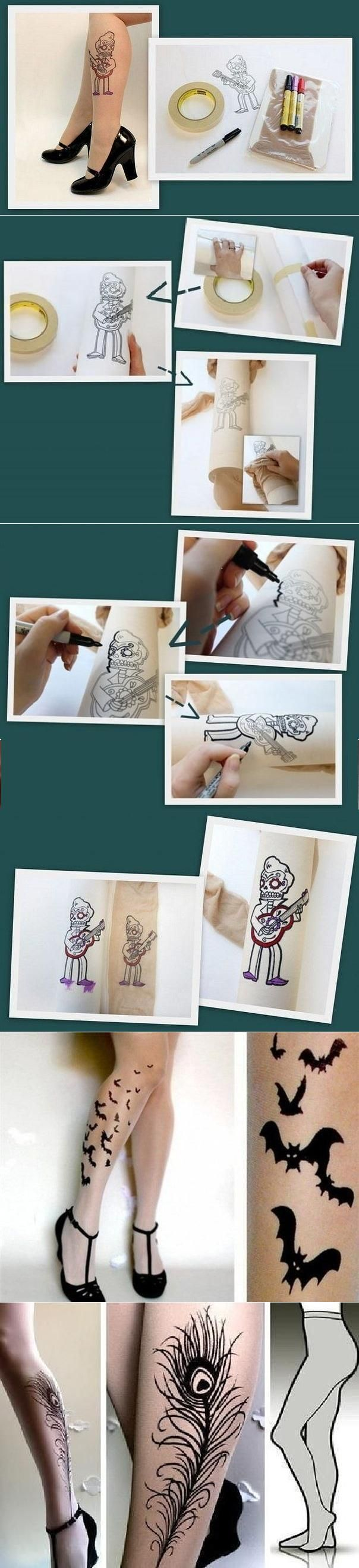 DIY Pantyhose Tattoo - a fun idea for any photoshoot - temporary tattoo, tatted…                                                                                                                                                     Plus
