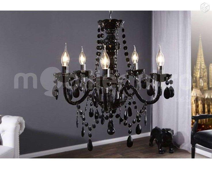 Lustre de style baroque avec pampilles noir d coration bouches du rh ne leb - Lustre pampilles noir ...