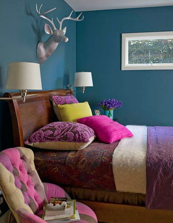Purple blue magenta yellow love this room lyds - Blue and purple bedroom curtains ...