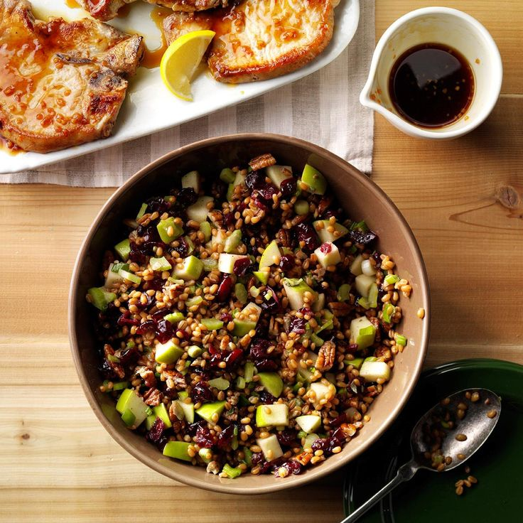 Cranberry-Pecan Wheat Berry Salad Recipe -I love to experiment with different grains, and wanted to give wheat berries a try. My whole family goes nuts for this salad, especially my mom. —Kristen Heigl, Staten Island, NY