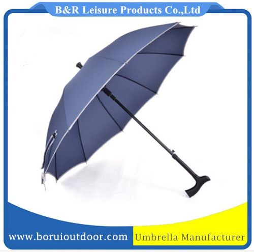 strong walking umbrella with crutch handle auto open, light blue pongee metal shaft_stick umbrellas wholesale_umbrella supplier