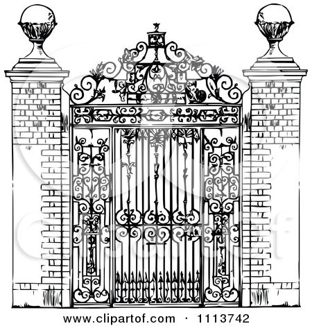 Clipart Vintage Black And White Ornate Wrought Iron Gate