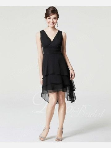 V-neck Chiffon Asymmetrical Bridesmaid Dress, black bridesmaid gowns, black bridesmaid dresses