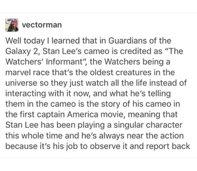 WHAT. PLEASE TELL ME THIS IS REAL I HAVE ALWAYS WANTED STAN LEE'S CAMEOS TO BE CONNECTED AND THIS WOULD BE GREAT