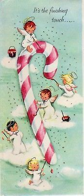 Tiny Angel Girl Lady Aqua Teal Paint Pink Candy Cane VTG Christmas Greeting Card