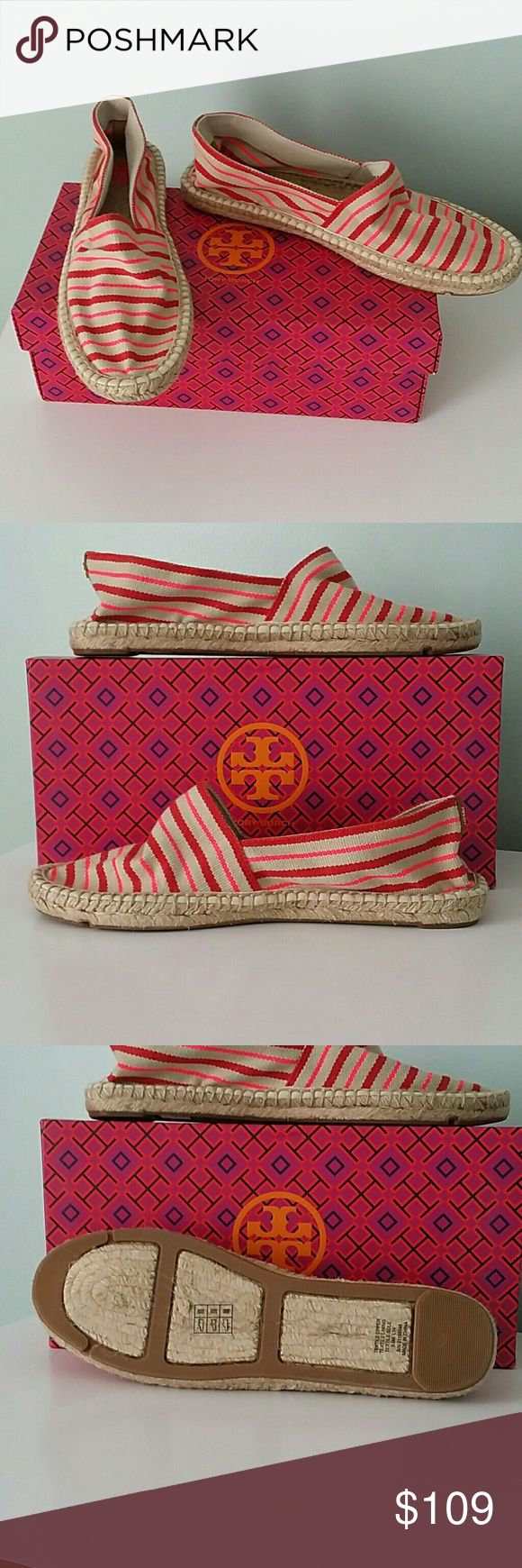 Tory Burch espadrille shoes   nwt 9.5 Jute and canvas slip on espadrille shoes.  Comes with a box. Tory Burch Shoes Espadrilles