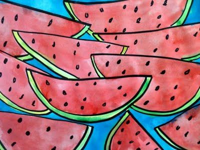 2nd grade - watercolor watermelons- Overlapping - do as an oil pastel resist painting