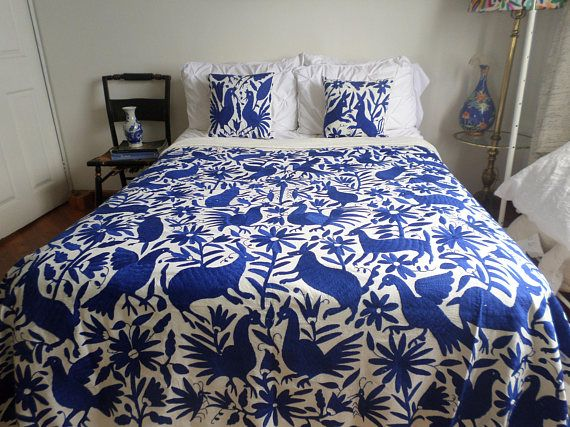 Cobalt Blue Otomi Quilt Otomi Duvet Otomi Coverlet Otomi Mexican Suzani Otomi Cobalt Quilting Bed Cover Luxury Bedding Sets Luxury Bedding Bedding Sets
