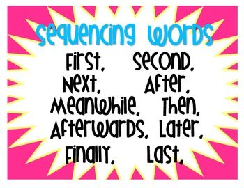 """This FREEBIE is a """"Sequencing Words"""" poster to add to your Writing wall or to student writing notebooks.  Enjoy! This set is available for use for classroom or home use only. Please be kind and respect the original creator of this product.Sequencing Words Poster by Everything Elementary is licensed under a Creative Commons Attribution-NonCommercial-NoDerivs 3.0 Unported License."""