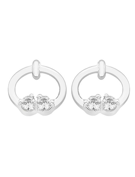 Rhodium plated silver & Swarovski zirconia stud earrings - £34 Onyx Goldsmiths