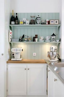coffee station...Kitchens Accent, Open Shelves, Beach Cottages, Aqua Blue, Tiny Kitchens, Small Kitchens, Design Kitchen, Kitchens Colours, Open Shelving
