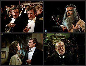 Roger Moore, John Huston, Patrick Macnee, and Charlotte Rampling in Sherlock Holmes in New York (1976)
