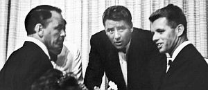July 8, 1961: Frank Sinatra, Peter Lawford and U.S. Attorney General, Robert Kennedy attending benefit dinner for Cedars-Sinai Hospital at Beverly Hilton, L.A.