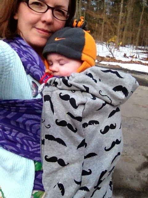 DIY baby carrier cover - used this very easy pattern & made a baby carrier cover in about 2 hrs (I am not an expert sewer, by any means!!).  The only thing I would suggest is using a bigger hoodie.  I used a women's small & it doesn't cover the baby's arms very well.  Otherwise, it's super cute and a great idea!