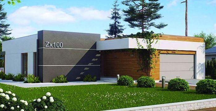 Plano y fachada de casa moderna de 3 dormitorios, 1 planta ...