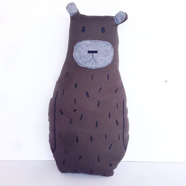 A personal favourite from my Etsy shop https://www.etsy.com/au/listing/290782373/hand-painted-bear-toy-cushion-brown-and