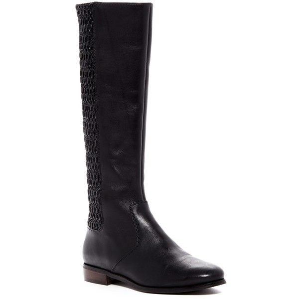 Cole Haan Elverton Knee High Boot ($170) ❤ liked on Polyvore featuring shoes, boots, black leat, black knee boots, stretch leather boots, stretch knee high boots, quilted knee high boots and black knee high boots