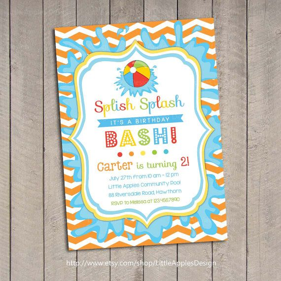 Pool Party Invitation / Kids Pool Party by LittleApplesDesign, $12.00