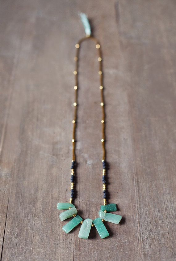 Mixed Media Boho Necklace /  Green  Gold  Black by BlueBirdLab