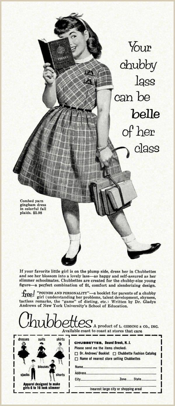"""Chubettes, the badly-named clothing line for overweight girls, 1957...seriously? **Plus, by today's standards, she is not at all fat. We have forgotten what average size bodies/clothes (and food portions)  looked like fifty+ years ago."""""""""""