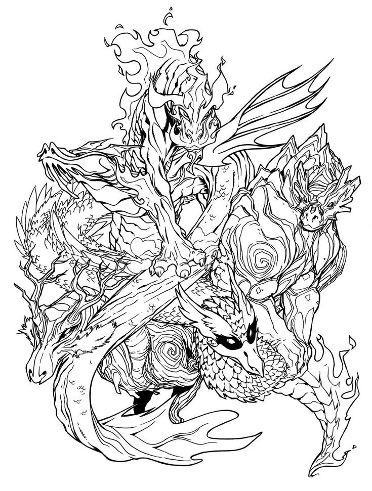 adult coloring pages dragons - elemental dragons by on