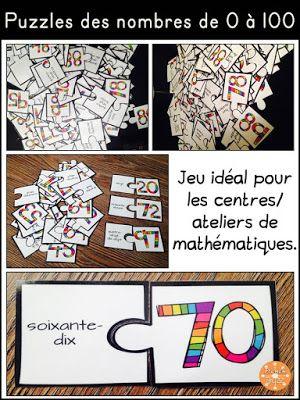 Puzzles des nombres de 0 à 100.