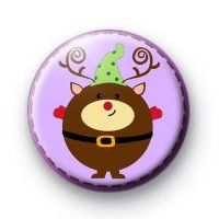 Happy Reindeer Christmas Badges  button badges £0.85
