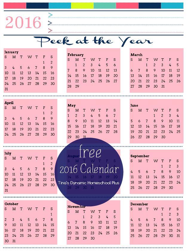 Free 2016 Year Calendar Pink Powder and Free 2017 Calendar @ Tina's Dynamic Homeschool Plus