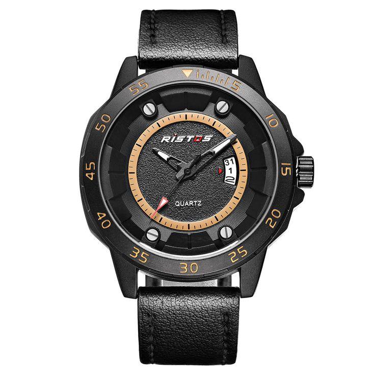 RISTOS 3ATM Water-resistant Casual Watch Men Quartz Watches Sales Online camel - Tomtop.com
