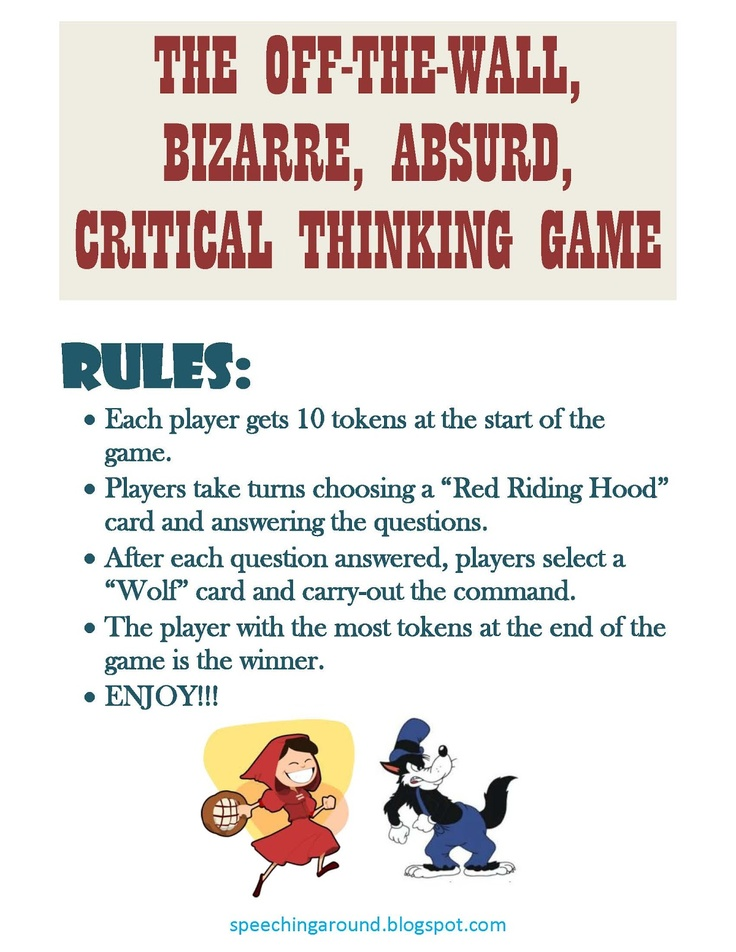 activities for critical thinking class Middle school teachers often like to foster critical thinking into lesson plans, but it's not always easy to do while observing common core state standards.