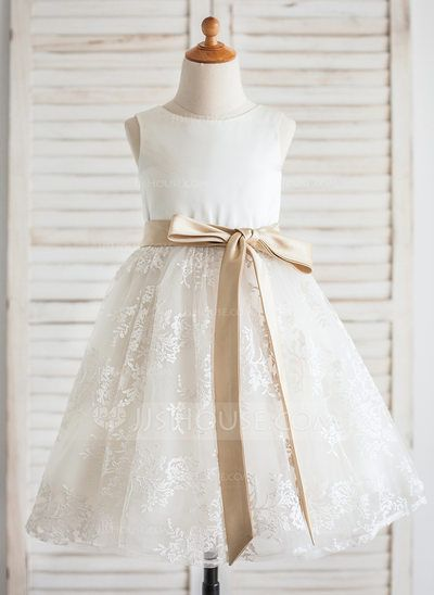 [R$ 230.01] Vestidos princesa/ Formato A Coquetel Vestidos de Menina das Flores - Cetim/Renda Sem magas Decote redondo com Cintos (010092600)