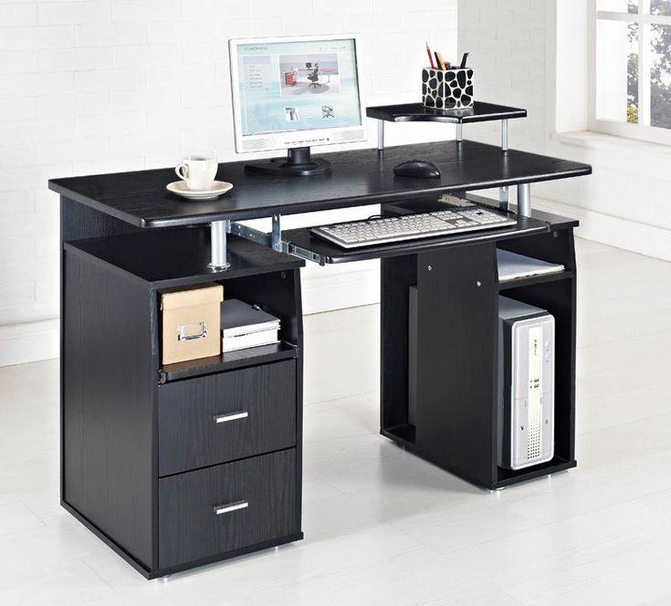 black computer desk table furniture for cool black white home