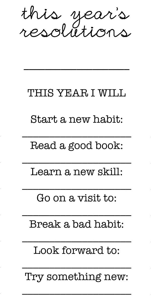Free New Year's Resolutions Printable- Great activity for families to do tog...