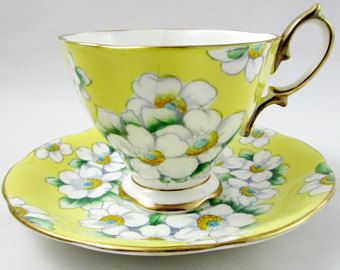 Royal Albert Yellow Tea Cup and Saucer with White Flowers, Vintage Bone China, Dogwood Flowers