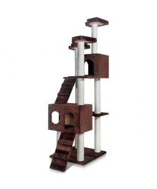 Giant Cat Scratching Tree with Ladder - Chocolate