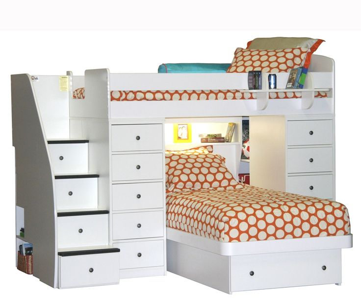 Twin over Twin Space Saver with 2 Chest and Platform Bed