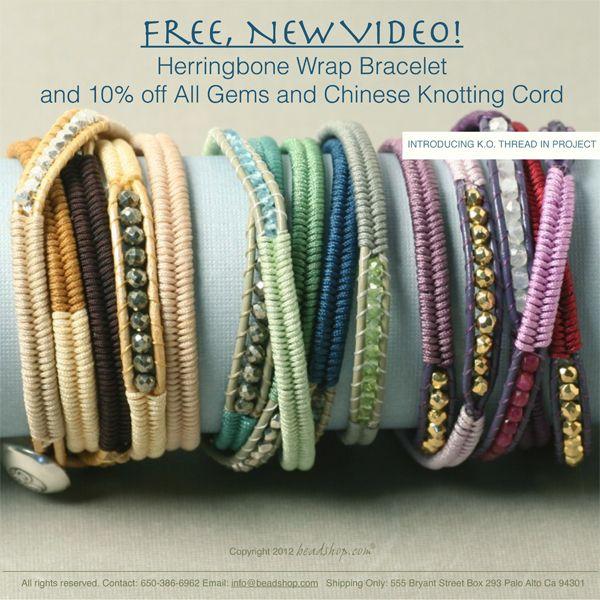 Video - Herringbone Wrap Bracelets - links to video to make these bracelets. #Beading #Jewelry #Tutorial