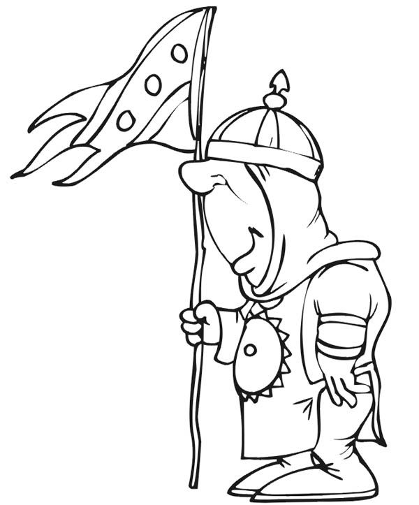 knight with kingdom flag coloring page  coloring sky
