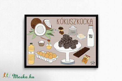 Lakásdekoráció kép, kerettel, ingyenes szállítással: Kókuszkocka, ahogy Anyu készíti (hintapalinta) - Meska.hu