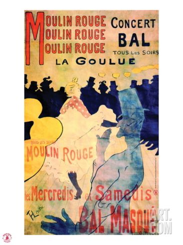1891 Moulin Rouge La Goulue (3 bandes) Giclee Print by Henri de Toulouse-Lautrec at Art.com