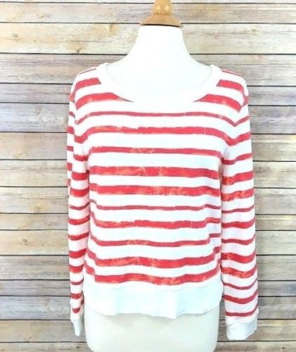 2ca10e914a Treasure-and-Bond-Womens-Sweatshirt-Red-White -Stripe-Distressed-Sz-Medium-Zipper