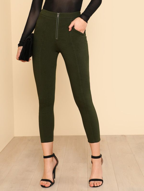 Shop Zip Front Fly Skinny Pants online. SheIn offers Zip Front Fly Skinny Pants & more to fit your fashionable needs.